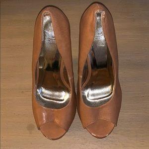 Shiekh wedge heels. Tan leather. Size 7